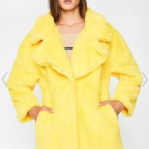 Dolls Kill Lemon faux fur coat